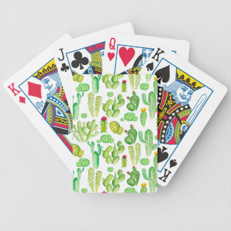 Watercolor Cacti Bicycle Playing Cards
