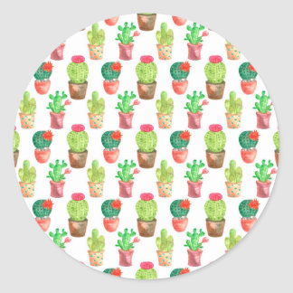 Watercolor Cactuces Pattern Classic Round Sticker