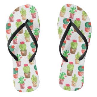 Watercolor Cactuces Pattern Flip Flops