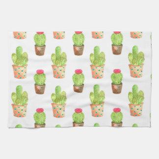 Watercolor Cactuces Pattern Kitchen Towel