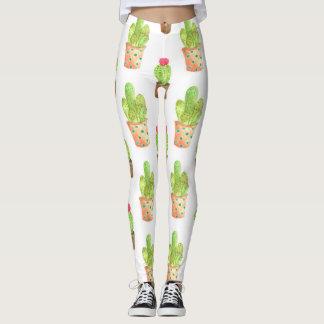 Watercolor Cactuces Pattern Leggings