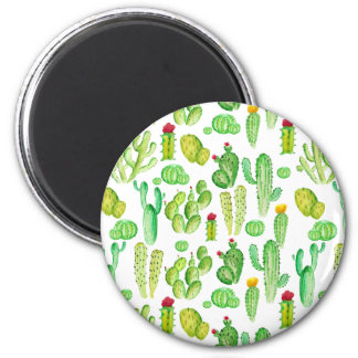 watercolor cactus 2 inch round magnet