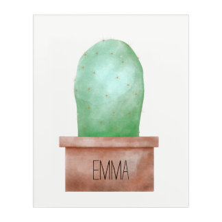 Watercolor Cactus Acrylic Wall Art