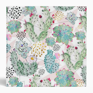 watercolor cactus and triangles pattern 3 ring binders