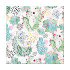 watercolor cactus and triangles pattern canvas print