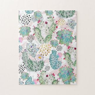 watercolor cactus and triangles pattern jigsaw puzzle