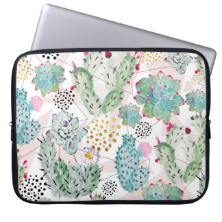 watercolor cactus and triangles pattern laptop sleeve