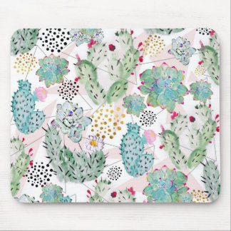 watercolor cactus and triangles pattern mouse pad