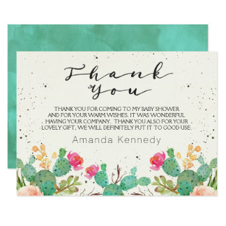 Watercolor Cactus Baby Shower Thank You Card
