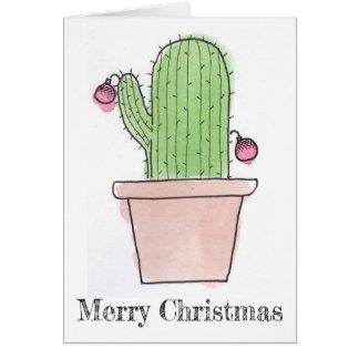 Watercolor Cactus Christmas Card
