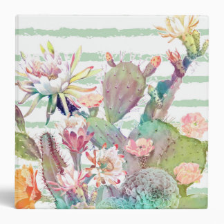Watercolor cactus, floral and stripes design 3 ring binder