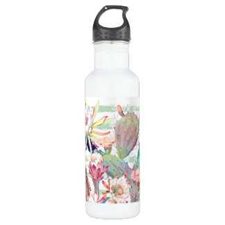 Watercolor cactus, floral and stripes design 710 ml water bottle
