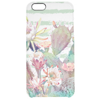 Watercolor cactus, floral and stripes design clear iPhone 6 plus case