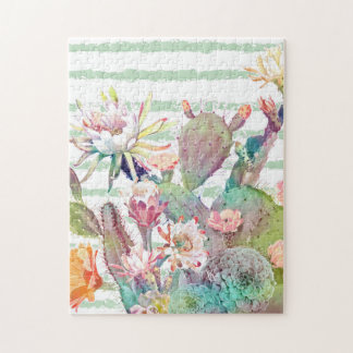 Watercolor cactus, floral and stripes design jigsaw puzzle