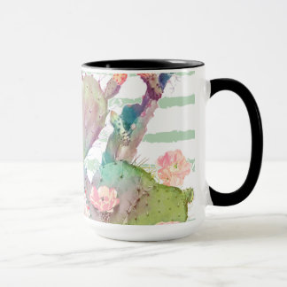 Watercolor cactus, floral and stripes design mug