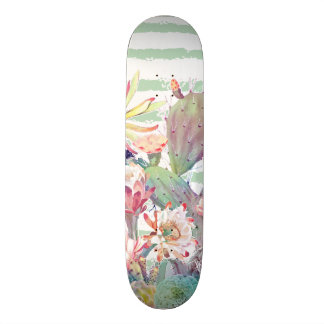 Watercolor cactus, floral and stripes design skateboard