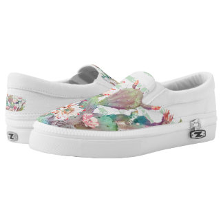 Watercolor cactus, floral and stripes design Slip-On sneakers