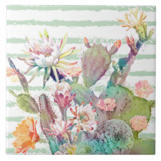 Watercolor cactus, floral and stripes design tile