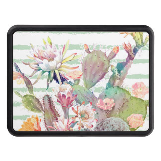 Watercolor cactus, floral and stripes design trailer hitch cover