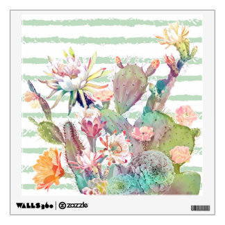 Watercolor cactus, floral and stripes design wall decal