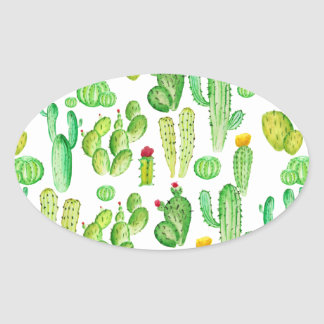 watercolor cactus oval sticker