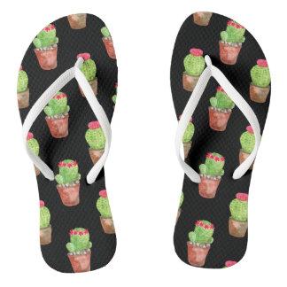 Watercolor Cactus Pattern Flip Flops