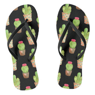 Watercolor Cactus Pattern Illustration Flip Flops