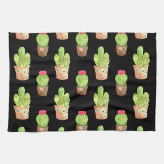 Watercolor Cactus Pattern Illustration Kitchen Towel