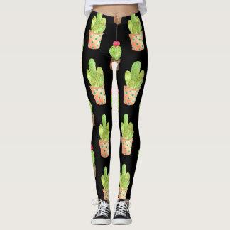 Watercolor Cactus Pattern Illustration Leggings
