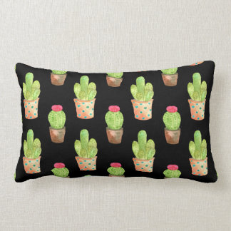 Watercolor Cactus Pattern Illustration Lumbar Pillow