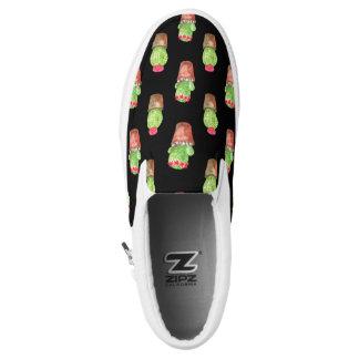 Watercolor Cactus Pattern Slip-On Sneakers
