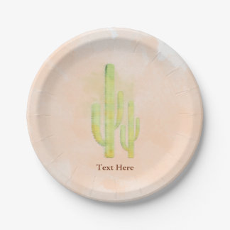 Watercolor Cactus Simple Southwestern Party 7 Inch Paper Plate