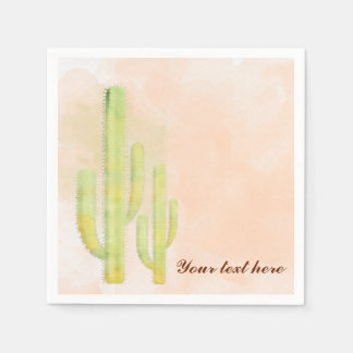 Watercolor Cactus Simple Southwestern Party Paper Napkins
