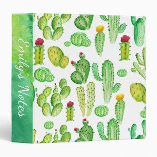 Watercolor Cactus Succulent Pattern School Binder