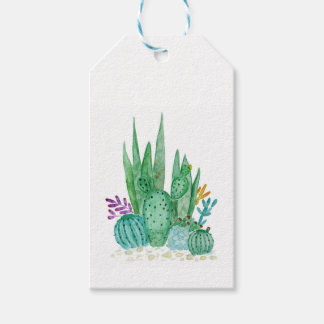Watercolor , cactus , succulents gift tags