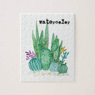 Watercolor , cactus , succulents jigsaw puzzle