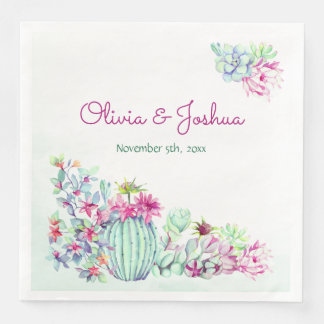 Watercolor Cactus & Succulents Wedding Napkins Disposable Napkin