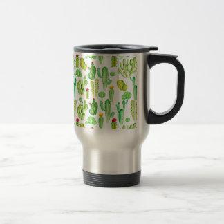 watercolor cactus travel mug