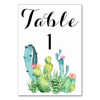 Watercolor Cactus Wedding Table Number Card