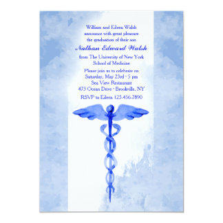 Watercolor Caduceus Invitation