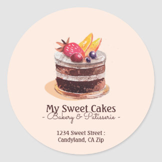 Watercolor cake patisserie cupcake Packaging Classic Round Sticker