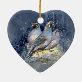 Watercolor California Quail Bird in Blue Ceramic Ornament