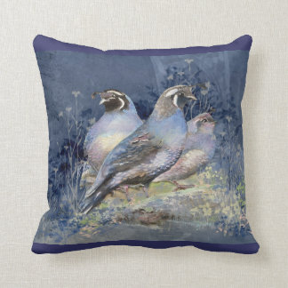 Watercolor California Quail Bird in Blues Throw Pillow