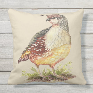 Watercolor California Quail Bird Nature Art Outdoor Pillow
