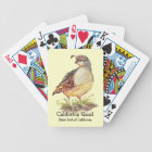 Watercolor California Quail State bird Bicycle Playing Cards