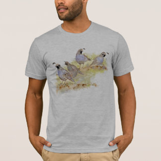 Watercolor California Quail State Bird Nature art T-Shirt