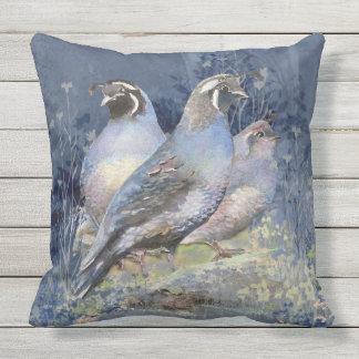 Watercolor California Quail  Wildlife Bird art Outdoor Pillow