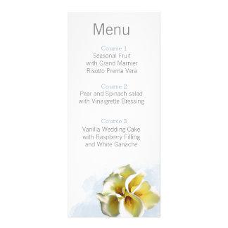 watercolor calla lilies Floral Wedding menu Customized Rack Card