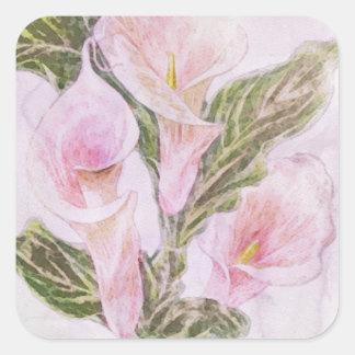 Watercolor Calla Lillies Square Sticker