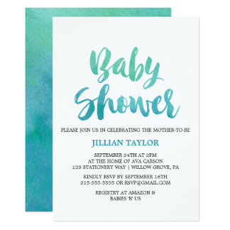 Watercolor Calligraphy Baby Shower Card